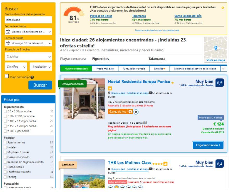 página de listado de hoteles con Booking