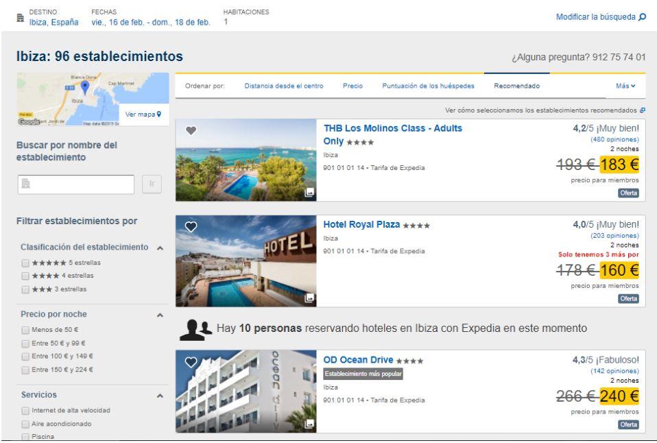 página de listado de hoteles con Expedia
