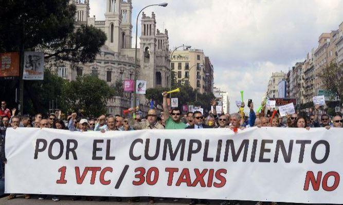 Manifestaciones del sector del Taxi contra las VTC